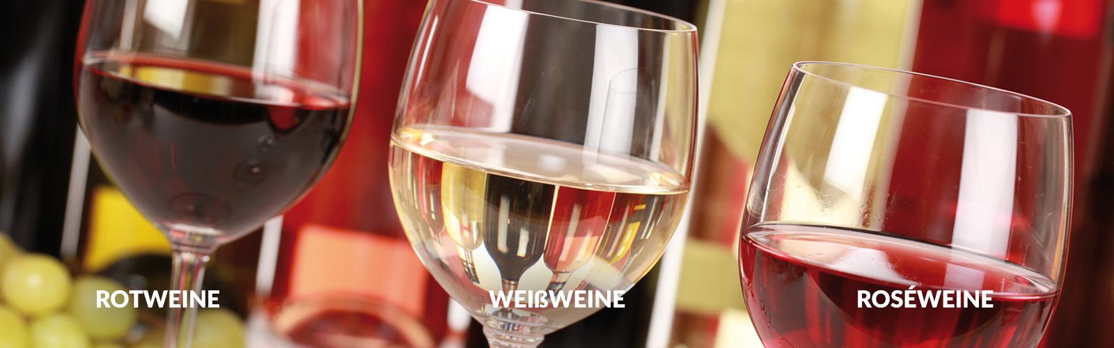 Weingläser Rotwein Weißwein Roséwein