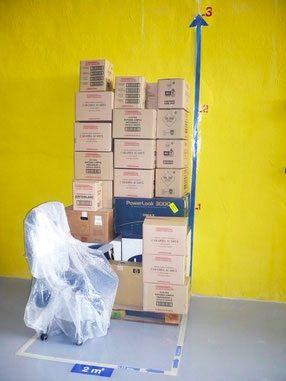 ejemplo de almacenaje en trastero de 2 metros cuadrados en Superbox Murcia