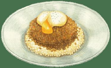 半熟卵とキーマカレー