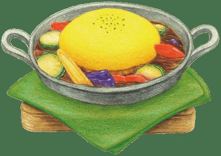 夏野菜のスパイスカレーオムライス