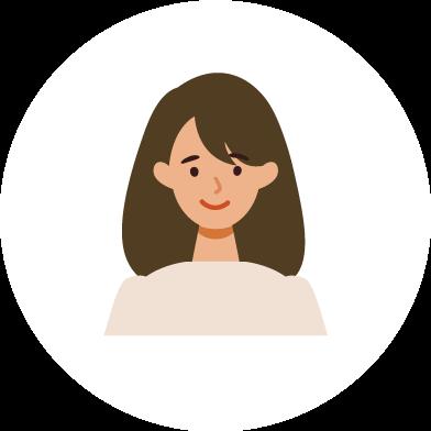 しろくま工作室のイラスト フラットデザインの表情ある女性