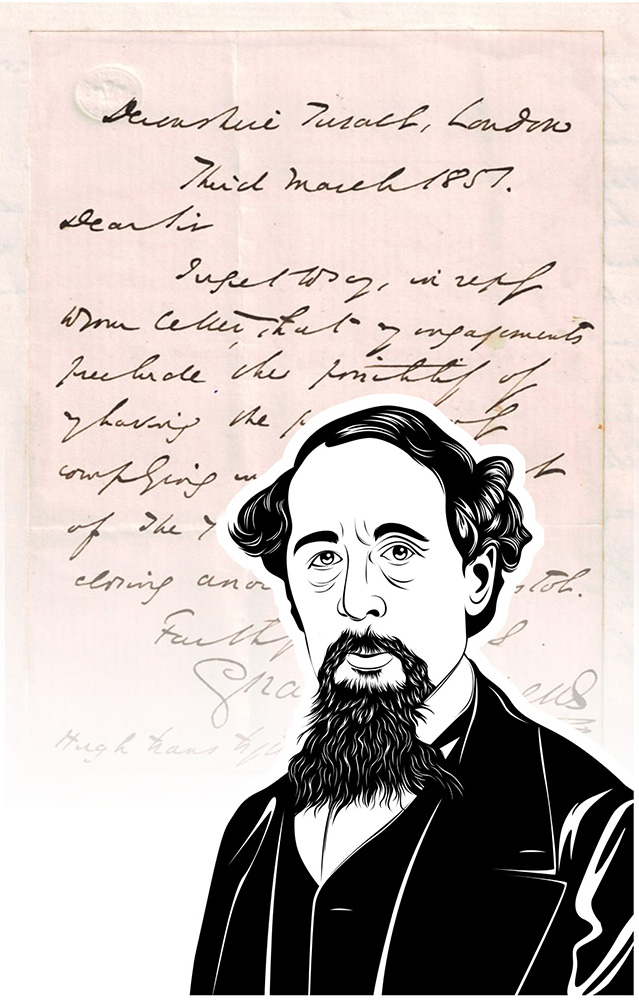 Luxus-Handtasche mit Schriftstück von Charles Dickens