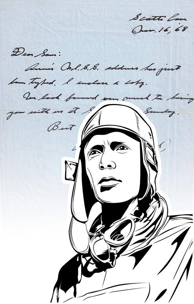 Luxus-Handtasche mit Schriftstück von Charles Lindbergh