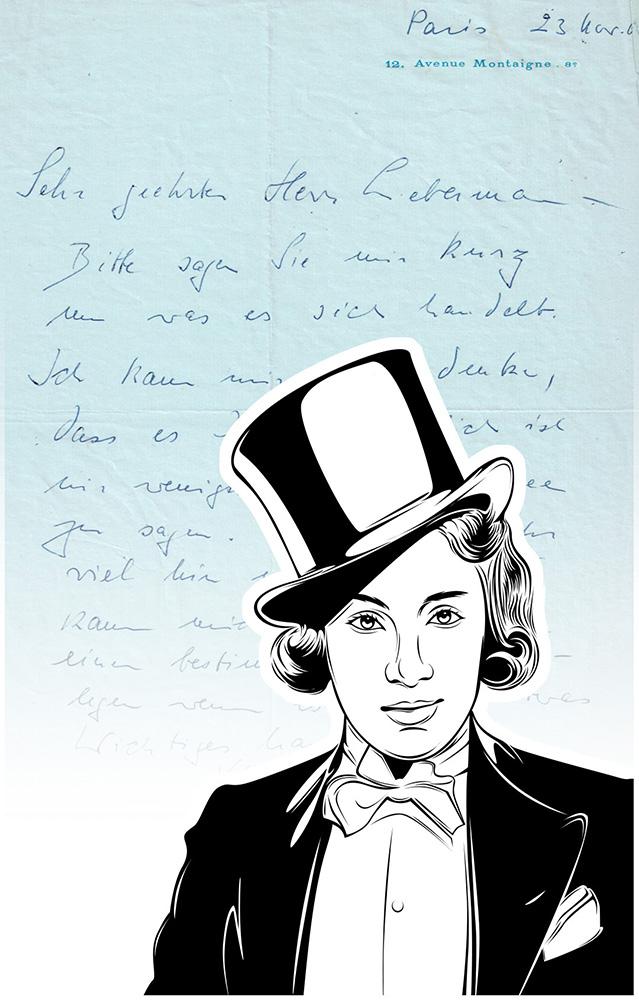 Luxus-Handtasche mit Schriftstück von Marlene Dietrich