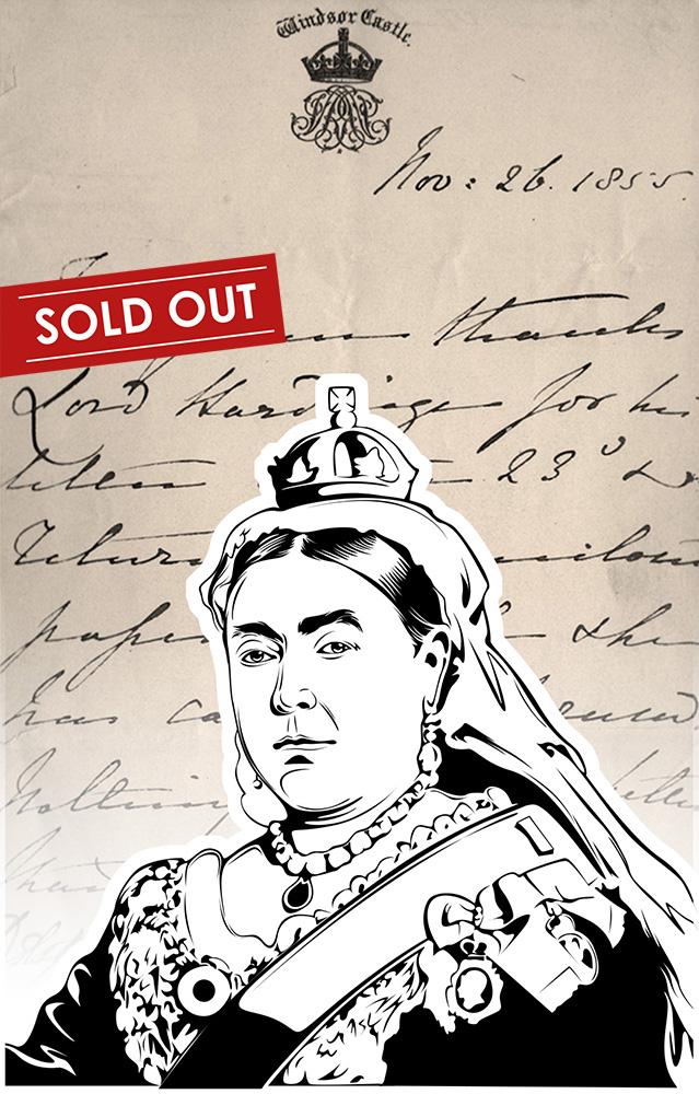 Luxury handbag with handwritten notes of Queen Victoria