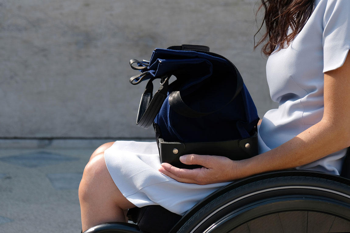 Universal Design, Inclusive Design bag, Wheelchair bag, Bag for wheelchair, Bag for wheelchair user, tote bag, bag for all