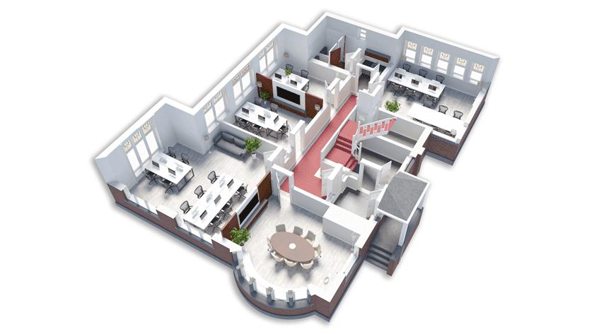 Digitale Restyling 3D Impressie 3D Visualisatie 3D Plattegrond Emmahuys Emmaplein Groningen