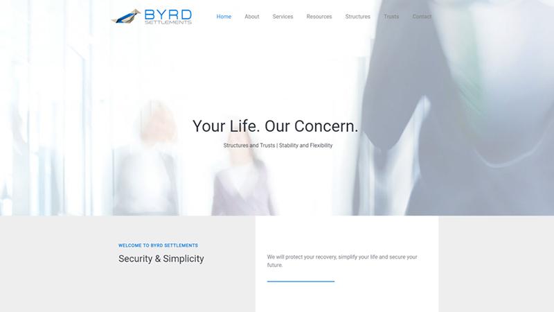 Byrd Settlements - Website preview