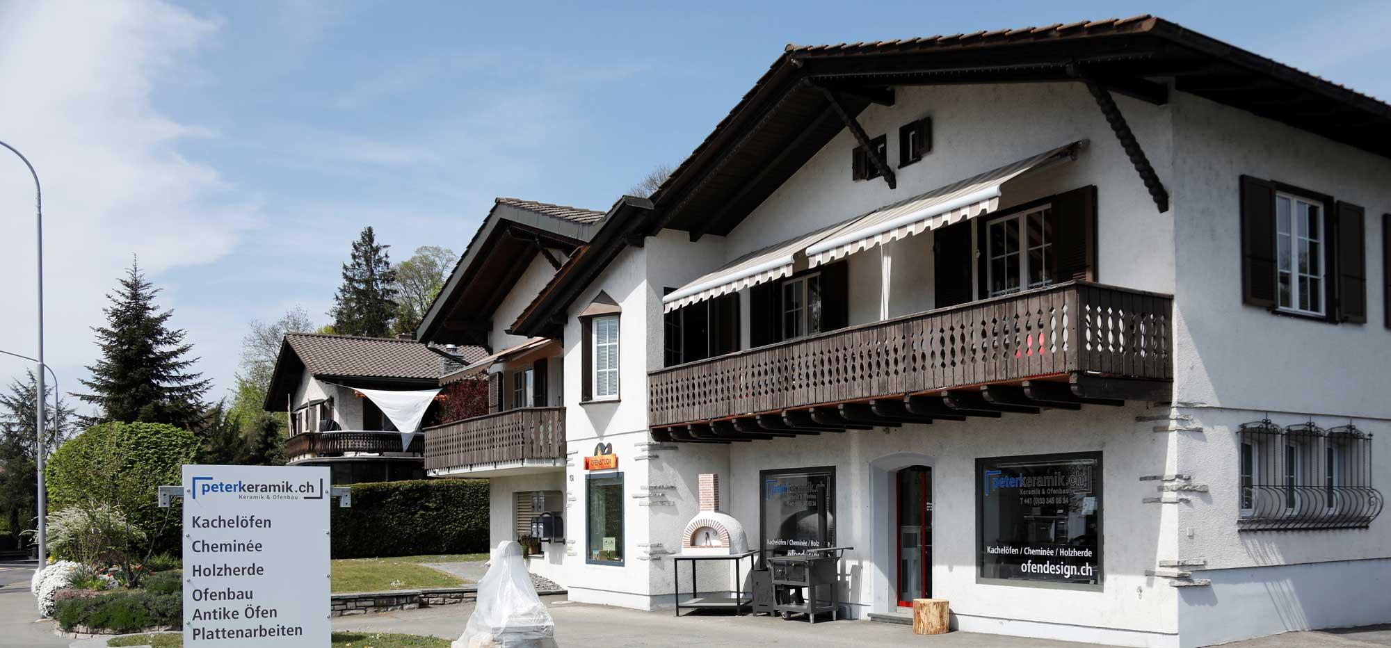 Virtueller Rundgang durch die Ofenausstellung von Peterkeramik GmbH in Hünibach bei Thun