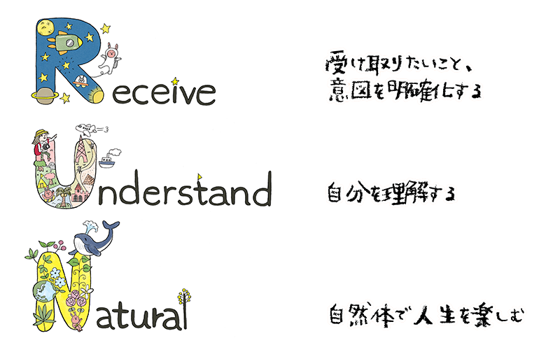 Receive 受け取りたいこと、意図を明確化する / Understand 自分を理解する / Natural 自然体で人生を楽しむ