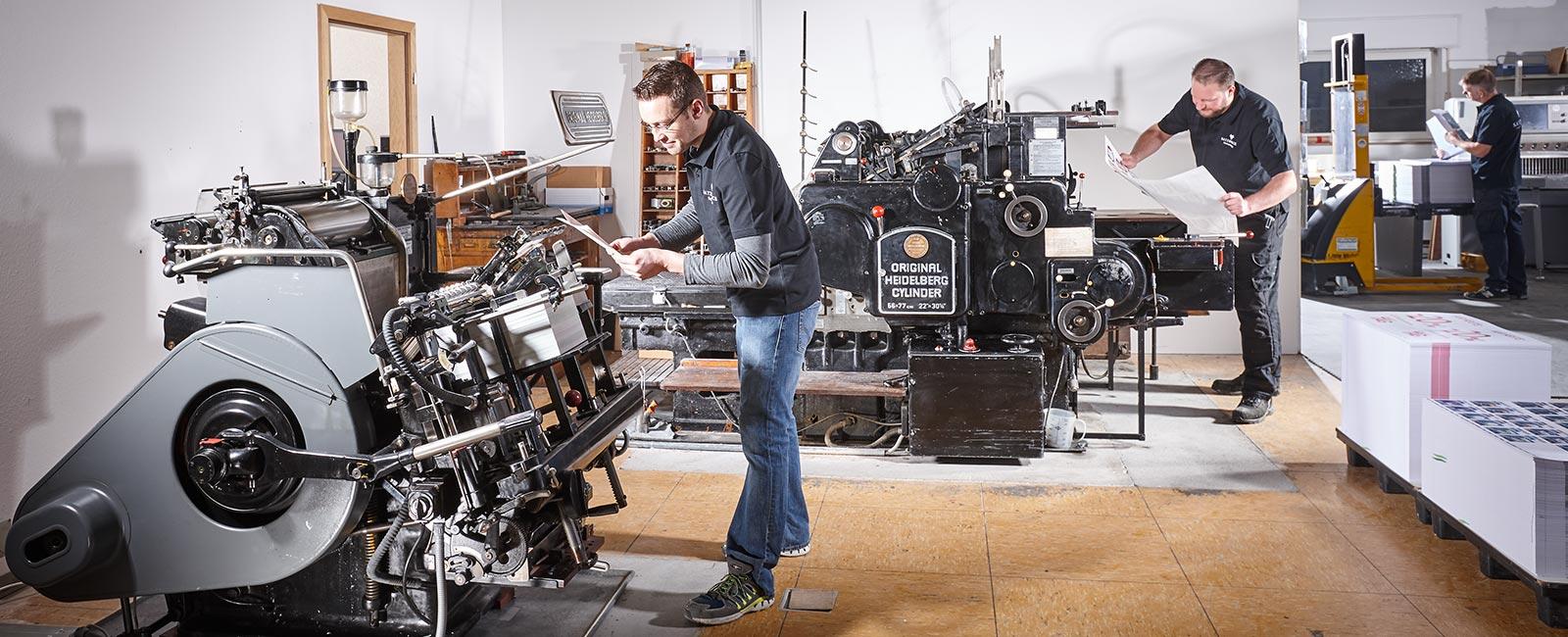 Letterpress auf Heidelberg-Zylinder- Druckerei Satzdruck Coesfeld-Lette im Münsterland