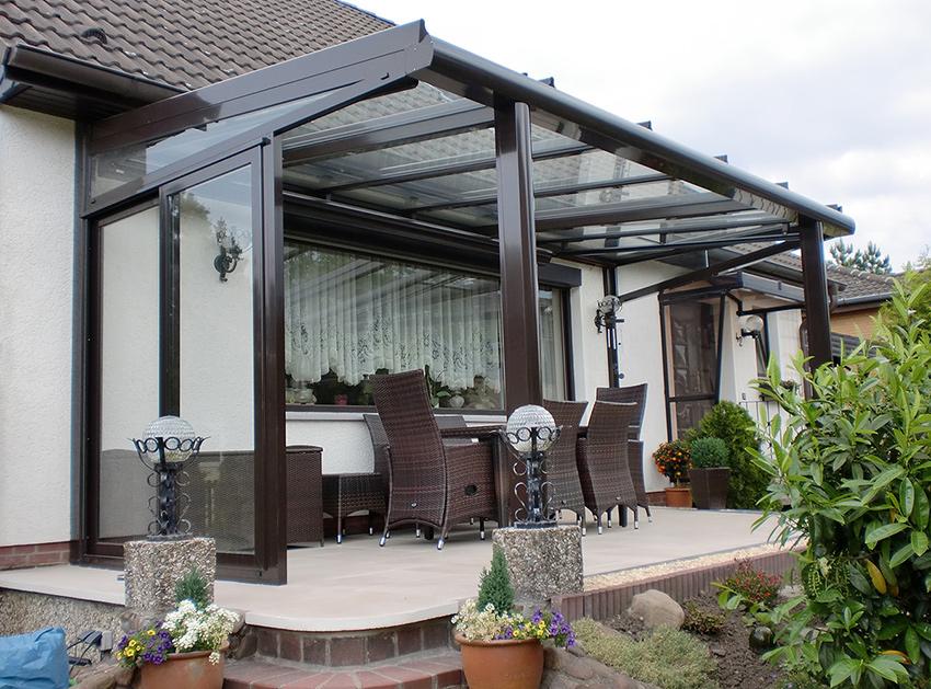 Terrassenüberdachung mit Unterbau - Schiebeelement Seitenteil