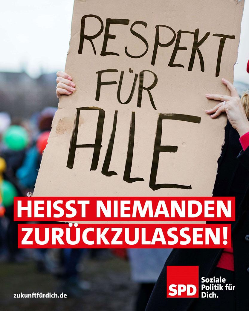 Respekt für alle hesst niemanden zurückzulassen - SPD Plakat