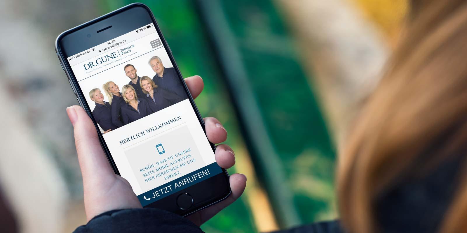 Werbeagentur MAPO-Marketing Potsdam, Responsive Webdesign für Zahnarztpraxis Dr.Gune