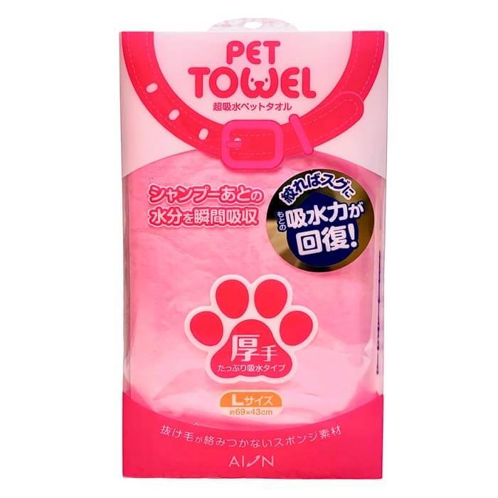 アイオン超吸水ペットタオル - 厚手Lサイズ(ピンク)