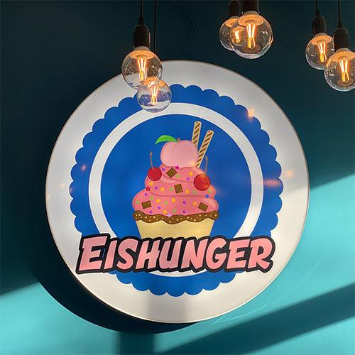 Eishunger Logo als Leuchtreklame