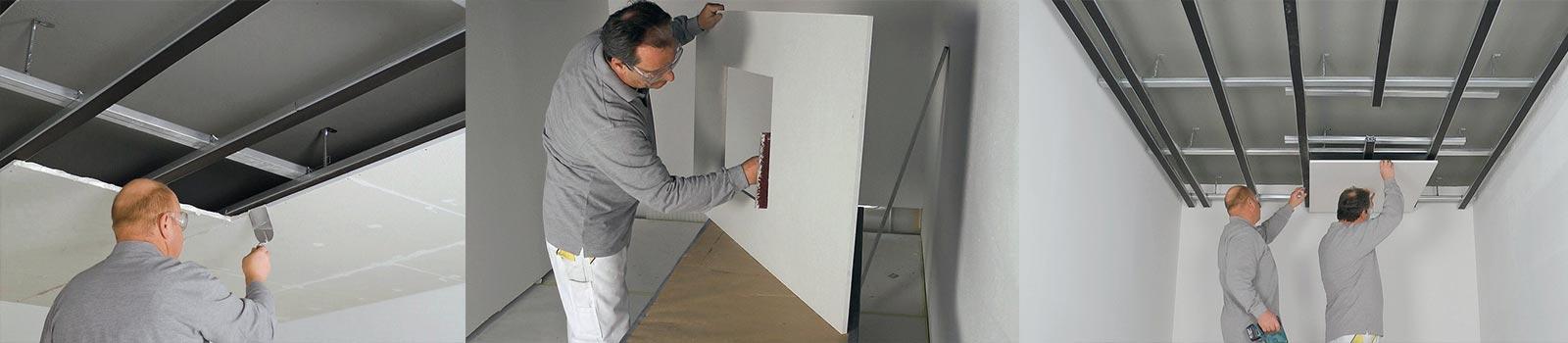 Mitarbeiter der 3B Denkmalpflege & Bausanierung GmbH beim anbringen von Gipskartonplatten