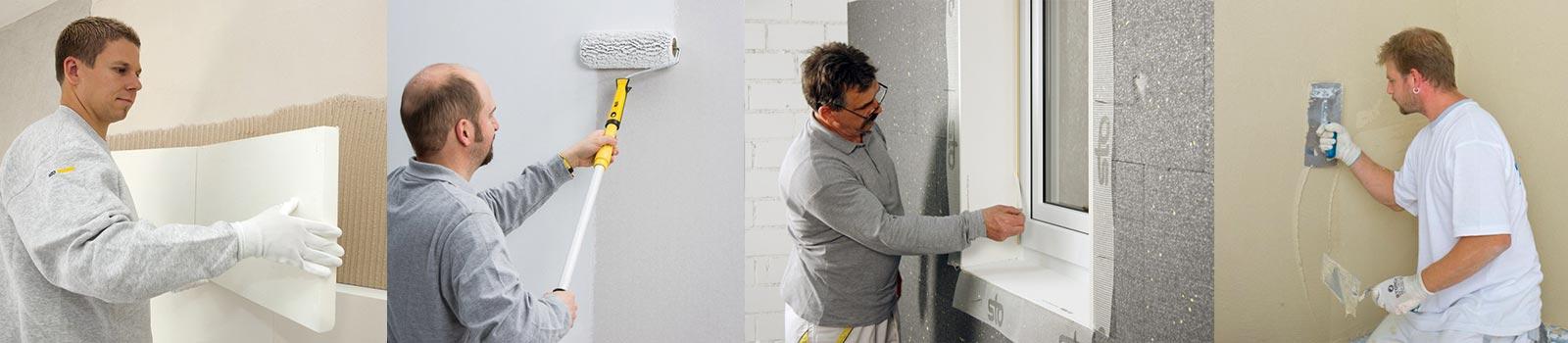 Mitarbeiter der 3B Denkmalpflege & Bausanierung GmbH beim Wand dämmen, anstreichen, verklebung entfernen und verputzen.