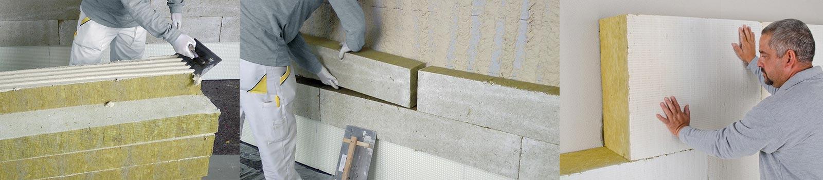 Mitarbeiter der 3B Denkmalpflege & Bausanierung GmbH beim verklebben von WDVS-Dämmplatten.