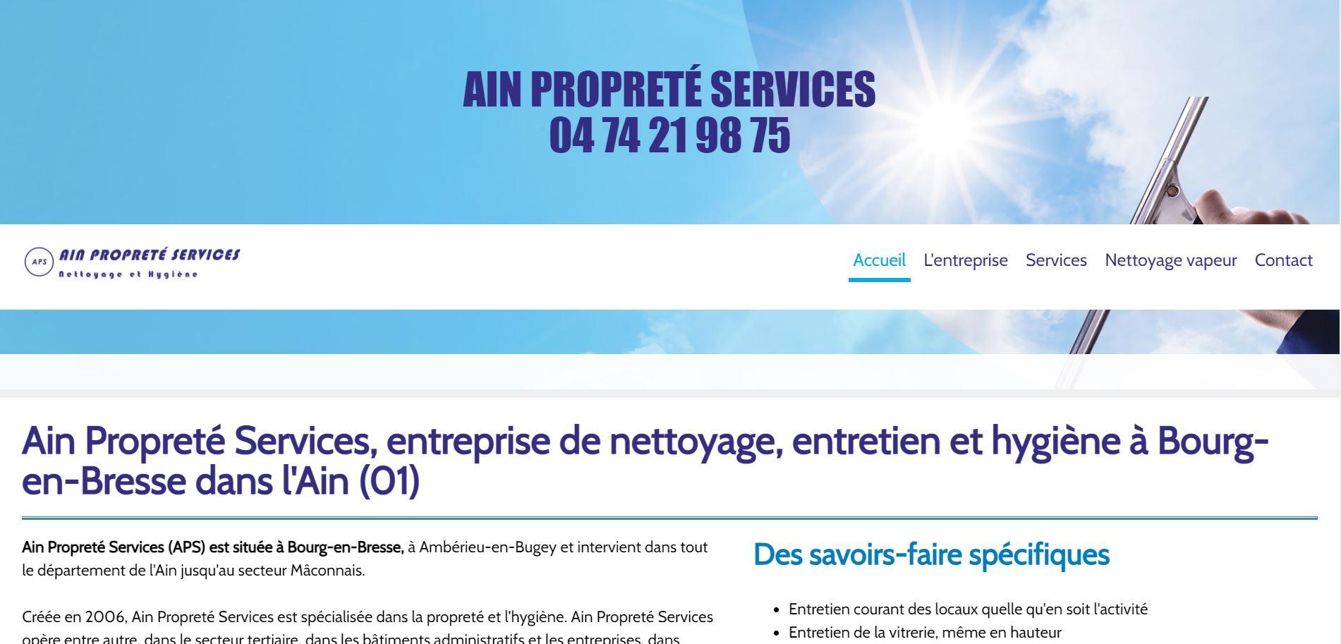 Page d'accueil du site de Ain Propreté Services, entreprise de nettoyage à Bourg-en-Bresse dans l'Ain