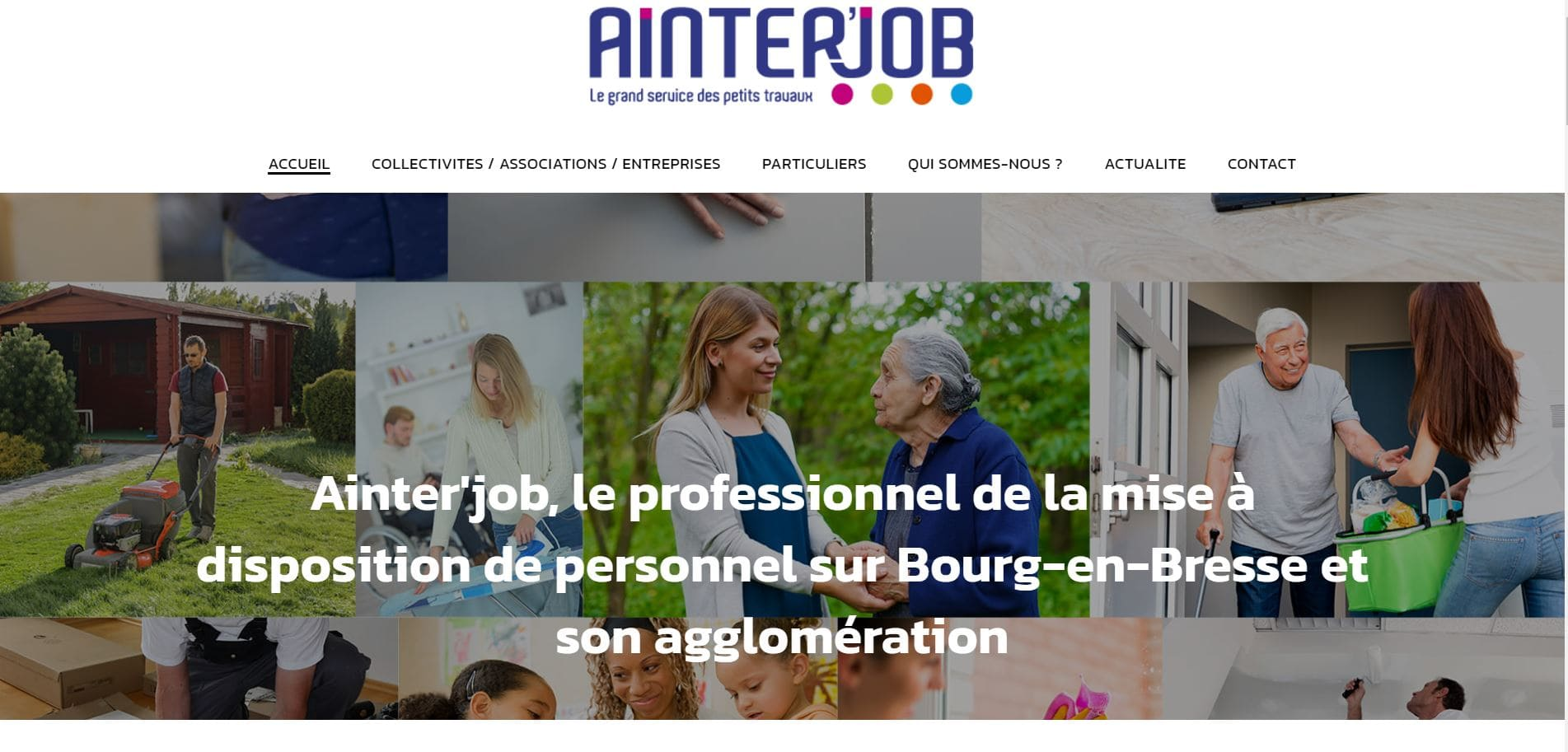 Page d'accueil du site d'Ainterjob à Bourg en Bresse