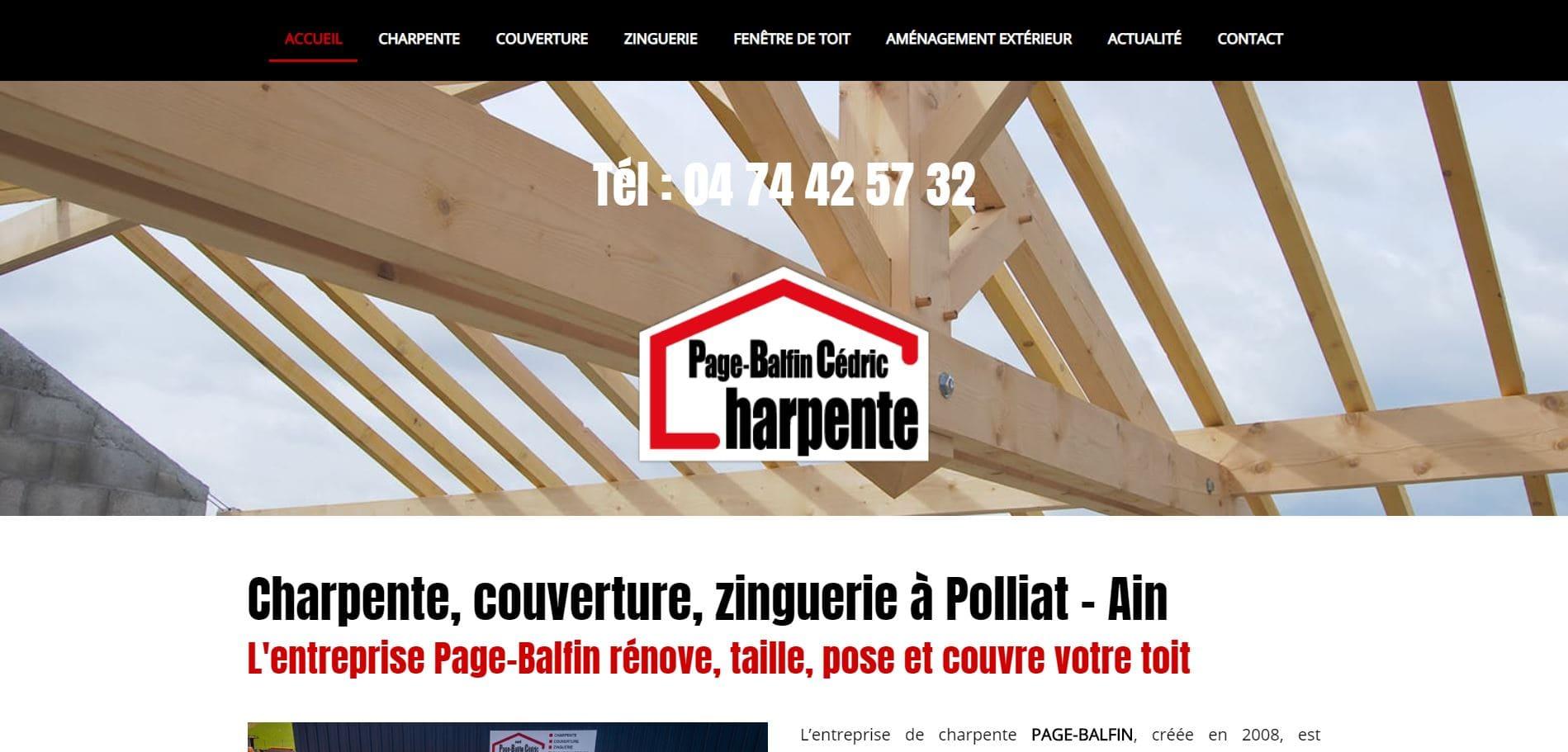 Page d'accueil du site de l'entreprise de charpente Page-Balfin à Polliat