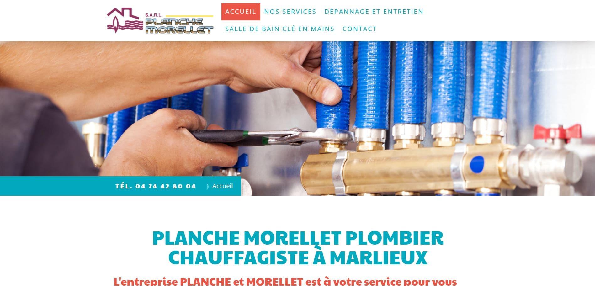 Page d'accueil du site de l'entreprise Planche et Morellet plombier chauffage à Marlieux