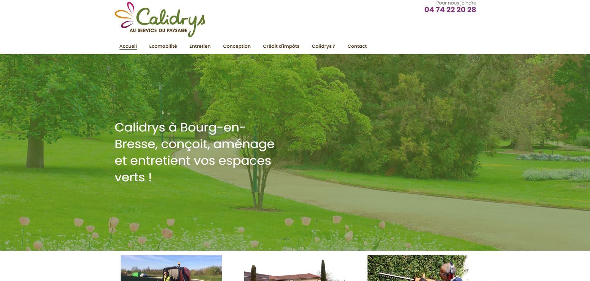 Page d'accueil du site de Calidrys Bourg en Bresse