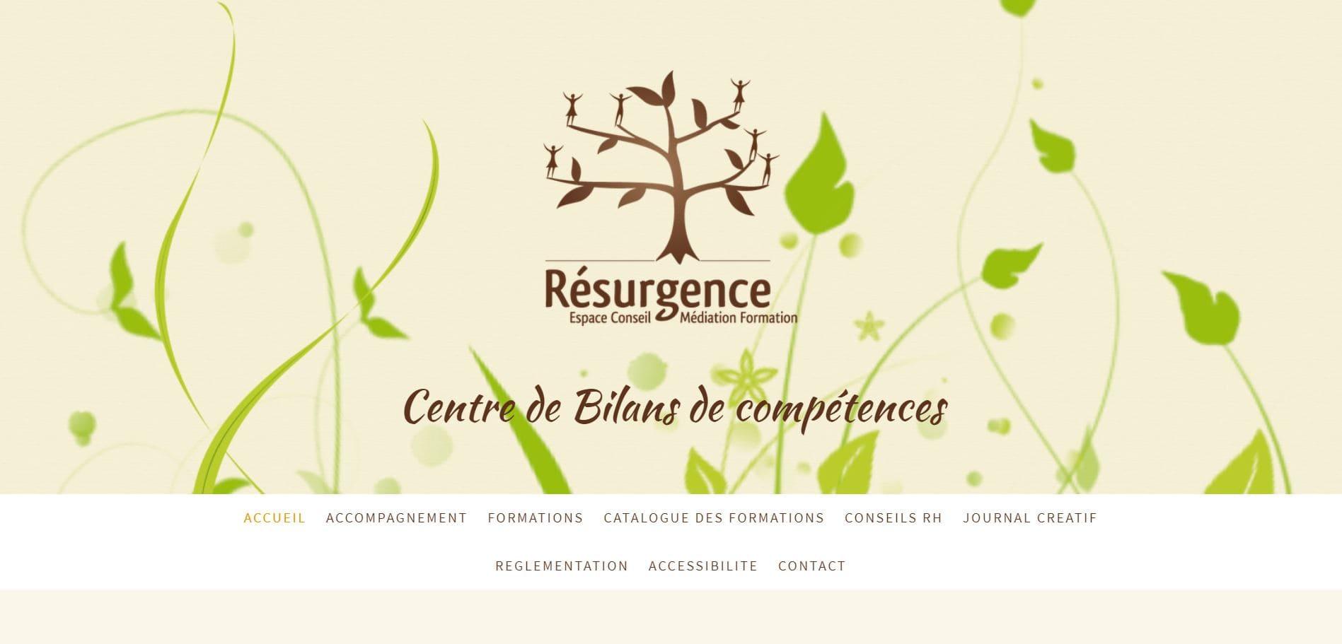 Page d'accueil du site de Résurgence Conseils Dijon
