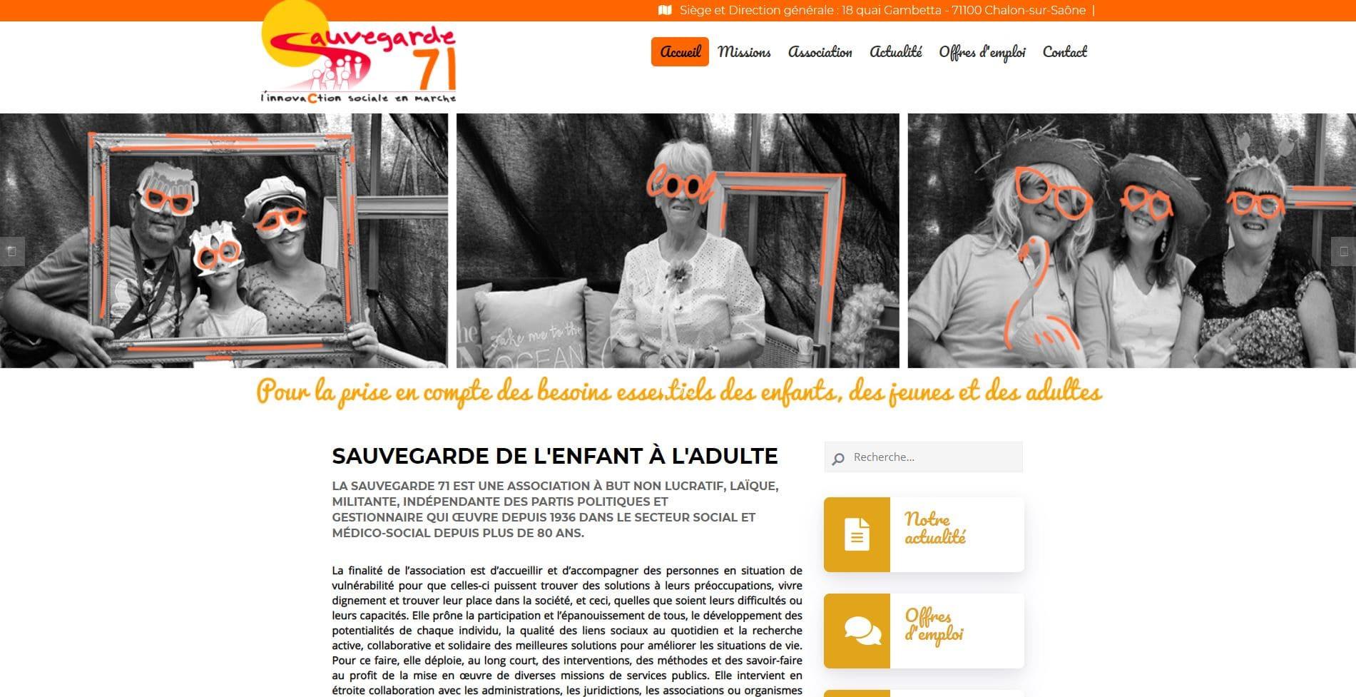 Page d'accueil du site de la Sauvegarde 71 à Châlon sur Saône