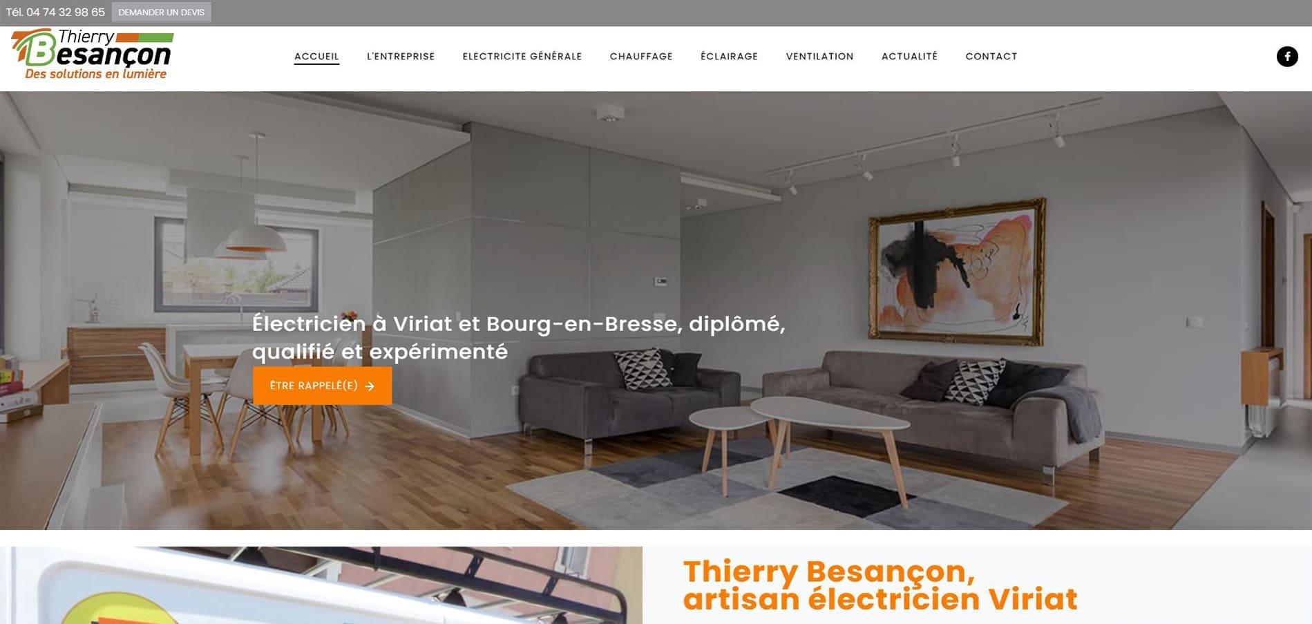Page d'accueil du site de Thierry Besançon électricien à Viriat