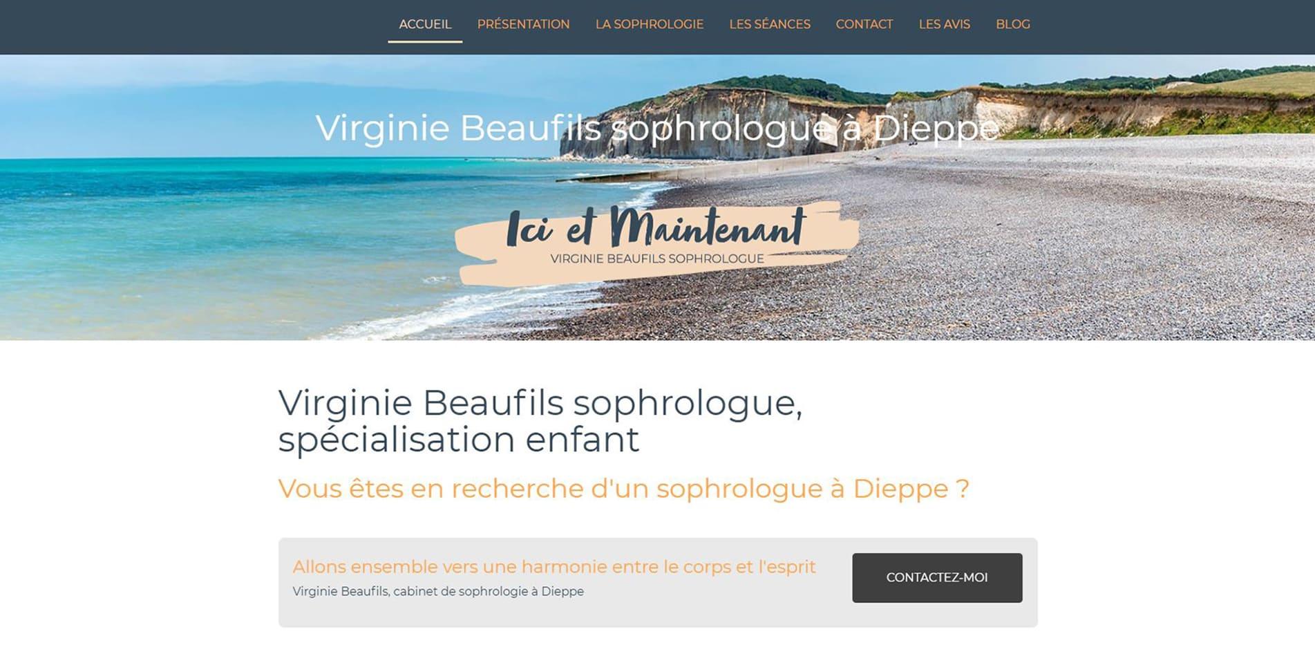 Page d'accueil du site de Virginie Beaufils sophrologie à Dieppe