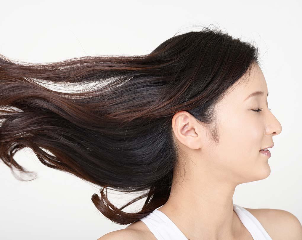 風を受けて長い髪をなびかせる女性の横顔