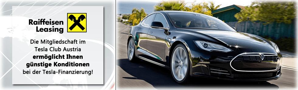 Bild beschreibt, dass TCA-Mitglieder ihren Tesla bei Raiffeisen Leasing günstiger finanzieren können.