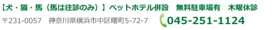横浜市中区阪東橋のつるばやし動物病院の問い合わせ
