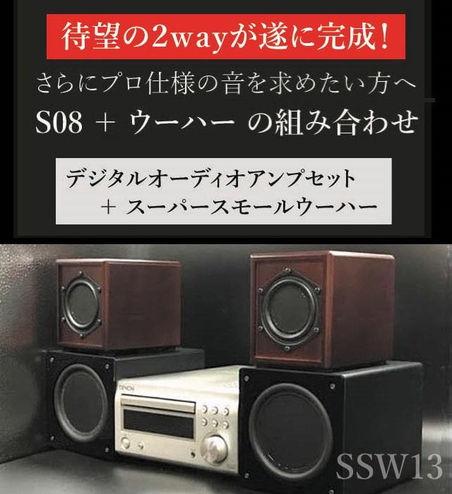 さらにプロ仕様の音を求めたい方へ S08+スーパースモールウーハー組み合わせ デジタルオーディオアンプセット+スーパースモールウーハー