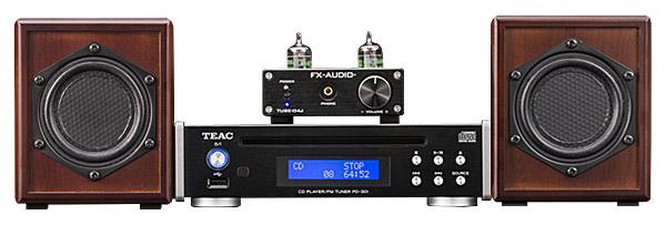 平面スピーカー SO8 × CD/FMプレーヤー TEAC PD-301 × 真空管ハイブリットアンプ FX-AUDIO TUBE-04JSP (特別仕様) サイズイメージ