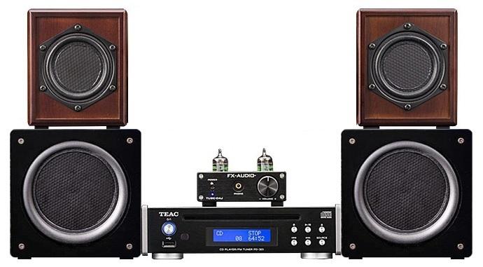 平面スピーカー SO8 × CD/FMプレーヤー TEAC PD-301 × 真空管ハイブリットアンプ FX-AUDIO TUBE-04JSP (特別仕様) × スーパースモールウーハー(SSW13)サイズイメージ