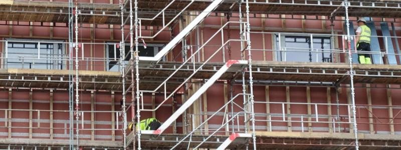 Baustelle von einer Fassadensanierung von der Omega-Spezialbau GmbH