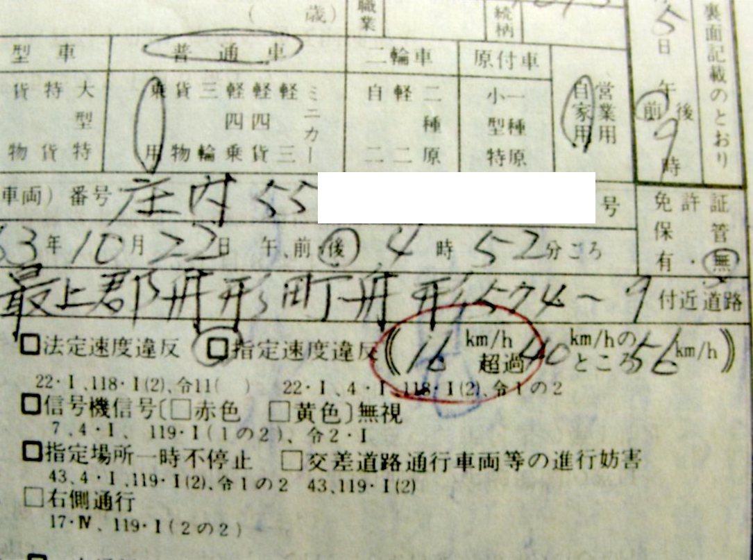 スピード違反によって警察から切られた違反切符。乗っていた自動車のナンバー、通行していた所番地、超加速度などが小さな文字で書かれている。