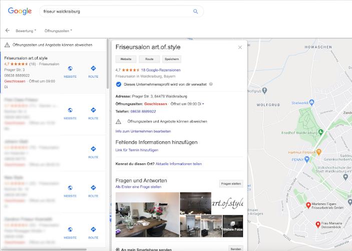 Regionaler Brancheneintrag auf Google