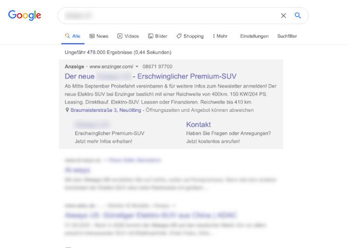 Bezahlte Suchergebniss auf Google