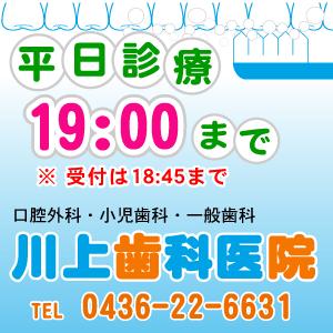 レーザー治療、入れ歯、歯軋り、歯槽膿漏、歯のことは何でもご相談ください。JR五井駅西口 千葉県市原市の川上歯科医院