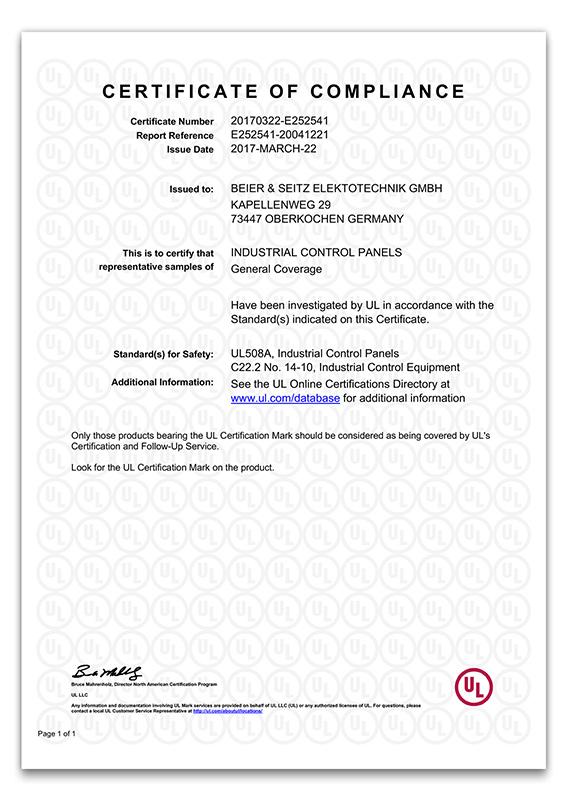 Beier und Seitz UL Zertifikat