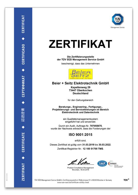 Beier und Seitz ISO Zertifikat