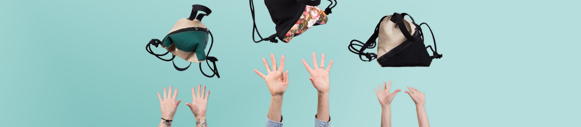 fairer rucksack im turnbeutel stil