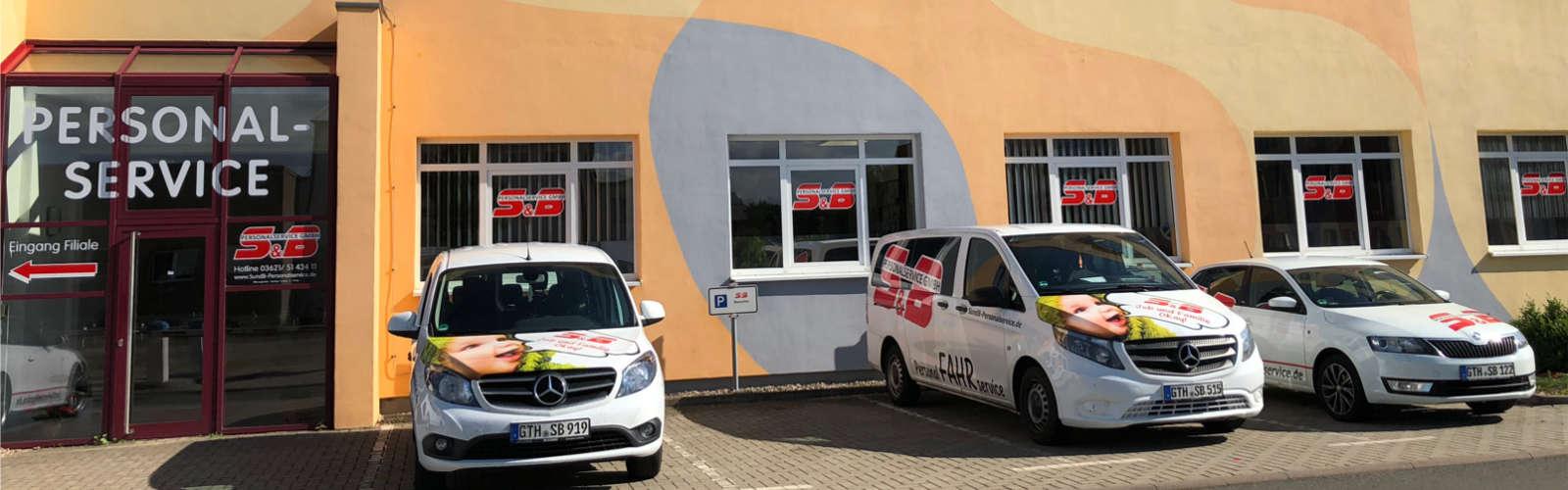 Eingang des Firmengebäudes der S&B Personalservice GmbH in Gotha