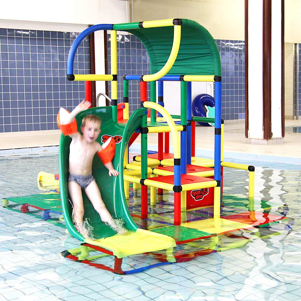 QUADRO aqua - boy on water slide in pool