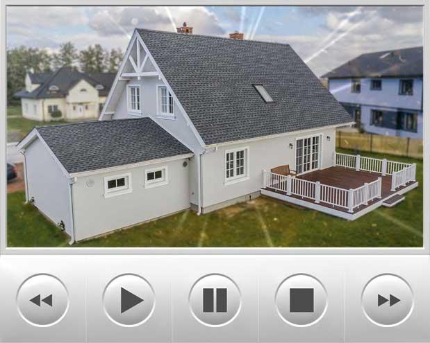 Ciekawa realizacja tradycyjnego domu dwu spadowego, który został wykonany na styl amerykański i na dachu nie mogło zabraknąć amerykańskiego gontu marki GAF model Timberline HD w kolorze Pewter Gray