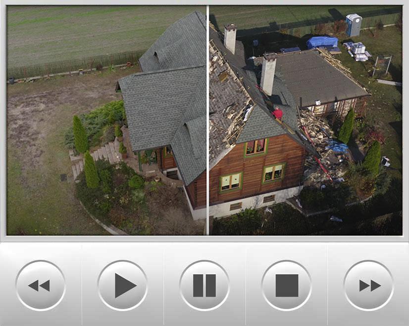 film przedstawia demontaż zniszczonego 10-letniego gontu osikowego i montaż systemu dachowego GAF wraz z gontem bitumicznym, laminowanym Timberline HD w kolorze Slate